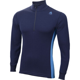Aclima WarmWool Mock Neck Zip Shirt Men Peacoat/Brilliant Blue
